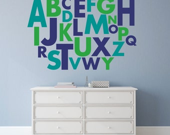 Large letter stickers, Alphabet letters, Wall letters for nursery, Alphabet wall decals, Playroom wall decals, Vinyl letter stickers DB148