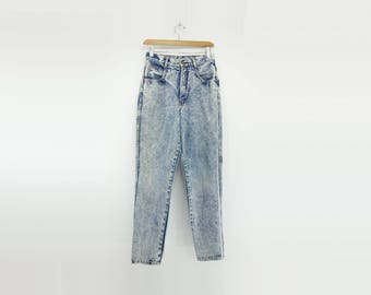 Acid Wash Jeans High Waisted Jeans Vintage Denim 80s Mom Jeans Vintage 80s Jeans Stone Wash Jeans Peg Leg Jeans 1980s Jeans Size 27 small s