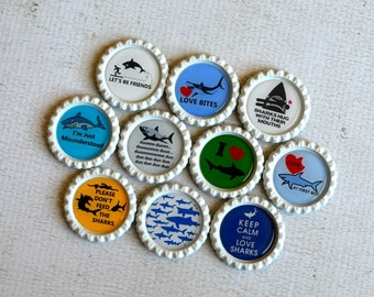 Funny Shark Bottlecap Magnets- Shark Lover- Shark Birthday- Shark Humor- Funny Shark Gift- Gift for Him- Shark Decor- Strong Fridge Magnets