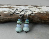 Spearmint Colorstack Gemstone Dangle Earrings--Icy Cool Shades--Artisan Earrings