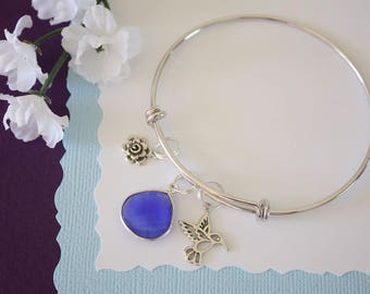 Humming Bird Bangle Bracelet Silver, Flower Charm, Bird Charm Bangle, Expandable, Sterling Silver, Nature, Charm Bracelet