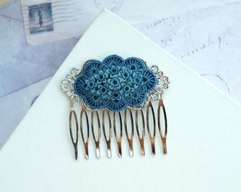 Blue Rose Silver Plated Comb, Floral Bouquet Silver Plated Hair Comb. Dusty Blue Wedding Blue Floral Shabby Chic, Something Blue Silver Comb