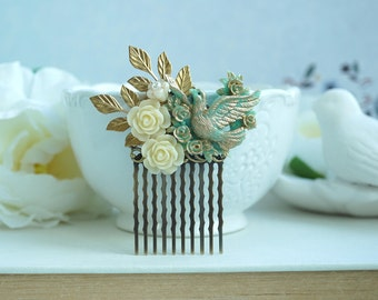 Mint Opal and Gold Comb Beige Flower Small Bridal Cream Mint Rose Hair Comb Flower Girl Comb Mint Opal Gold Hair Accessory, Bridesmaid Gift