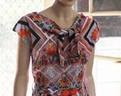 1960's NECKTIE Dress / Vintage styled / 1960 pattern /  Retro design / OOAK / Cotton / Pinup / 50's  Handmade /