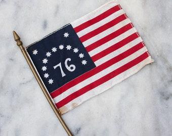 Vintage Miniature Desk Flag / American 76 Flag
