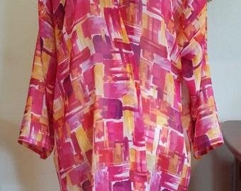 Abstract sheer Kimono Med-XL