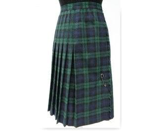 Vintage Black Watch Plaid wool David Brooks Ltd wool plaid kilt skirt- vintage size 8
