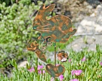 Rabbit Metal Garden Art Yard Stake, Copper Garden Marker, Outdoor Metal Sculpture, Pet Memorial Grave Marker,  Memorial Pet Bunny Marker