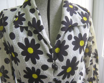 Vintage Dress Swiss Dot Daisy Print Mod Howard Wolf Designer