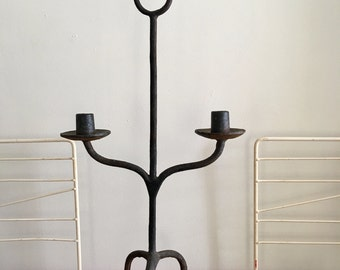 Vintage Large Wrought Iron Candelabrum Candelabra in the Style of Tommi Parzinger 1950s SALE