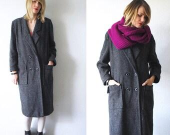 80s grey wool coat. oversized coat. normcore coat - medium