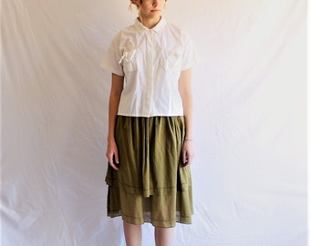 80s vintage cotton midi skirt mossy green minimalist small