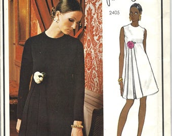 VOGUE Paris Original  Pattern 2405  -  Pierre Cardin Designer High Waisted Evening Dress -  Size 10 * Bust 32.5 * UNCUT w/ Label