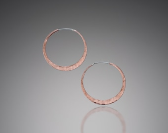 Small Hoop Earrings // Copper Hippie Hoop Earrings 1.25 inch