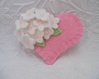 Felt Flower Brooch Pink Heart with Beaded Flowers Valentines Day