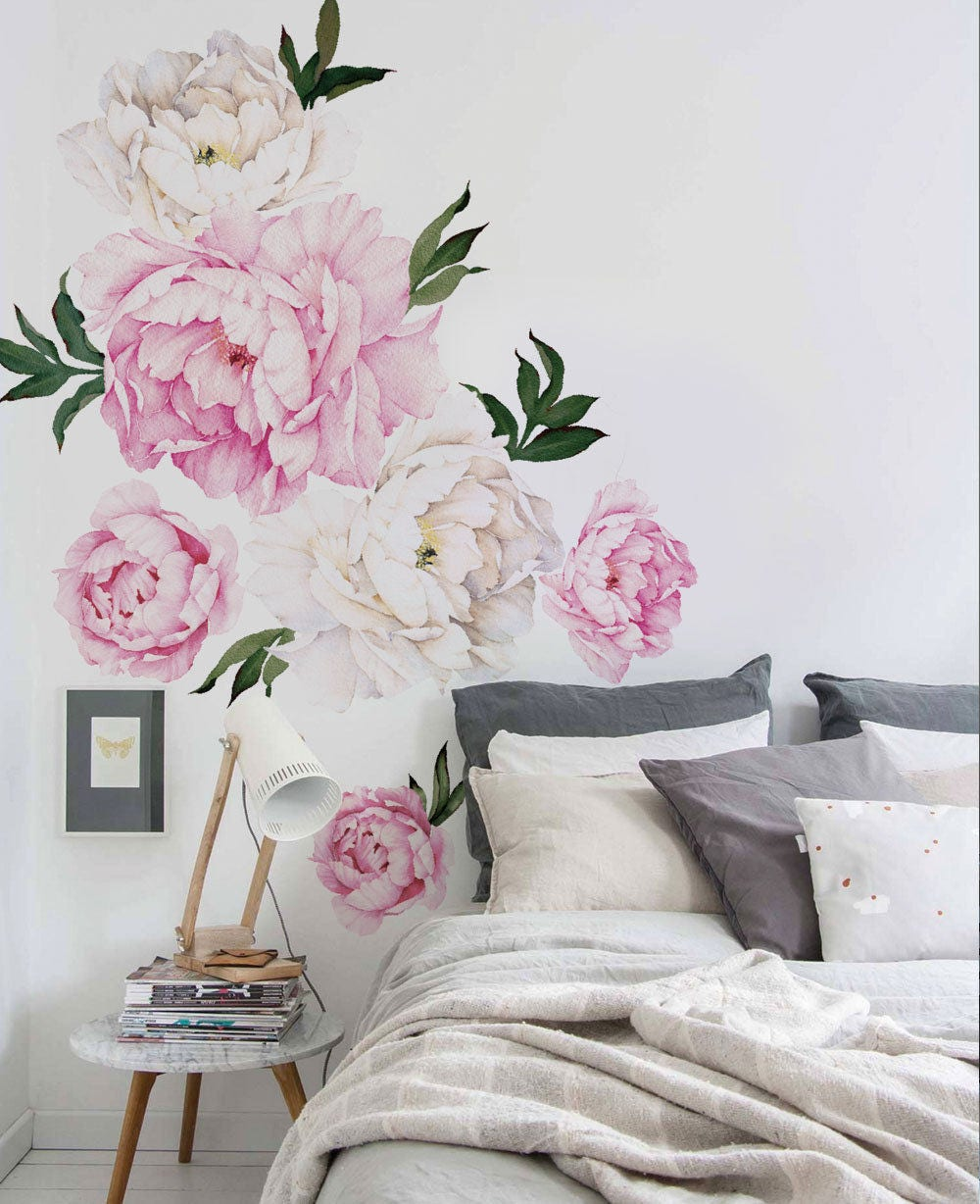 Non Traditional Wall Décor Ideas To Make A Bold Statement: Peony Flower Wall Sticker Vivid Pink Watercolor Peony Wall
