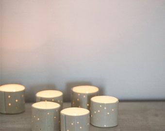 Hand built Porcelain Votives for Tea Lights and Candles