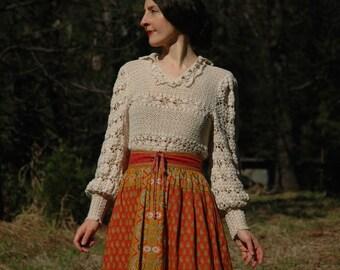 Size M/L... Vintage Crochet Top...Victorian Style Woven Knit Top