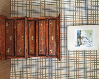 Dollhouse Miniature Dresser Stained Wood, 1:12 size