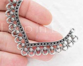 Large Filigree Connector multi strand pendant boho ethnic tribal Necklace Charm Holders Antique Silver Patina European Cast Zamak TH186 -1pc