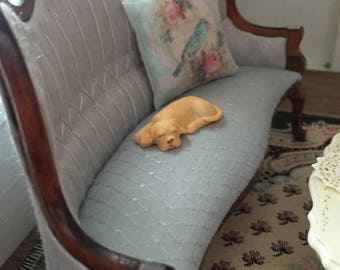 Miniature Sleeping Labrador Puppy, Yellow Labrador Figurine, Dollhouse Miniature, Mini Dog Figurine, Yellow Lab