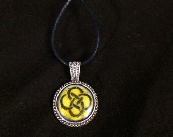 Yellow knotwork Glass Enamel Medallion Pendant