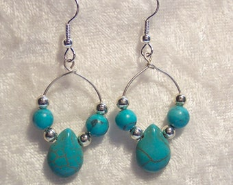 Turquoise Blue Earrings, Silver, Hoop, Dyed Howlite, Turquoise Imitation, Hoop Earrings, Southwestern, Western, Clip on Available