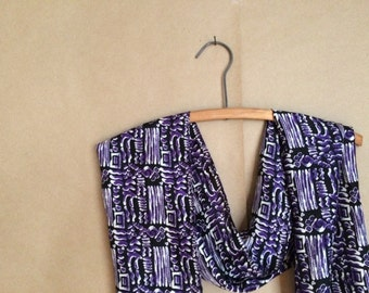 sale vintage 90's color block / silk  / scarf scarve / purple black