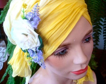 How to tie your turban headscarf Chemo Hat Headwear Chemotherapy yellow lemon with handmade flower clip