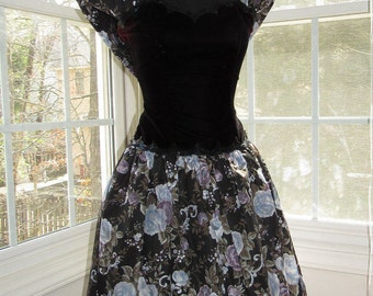 XSmall, Scott McClintock Black Velvet, Black Sequins, Black Floral with Pastels of Blue and Purple