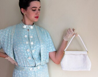 Vintage 1950s 1960s White Beaded Evening Bag Elsie Tu / 50s 60s Designer Bridal Handbag Purse Hong Kong