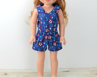 """14.5 """" Doll Romper - Patriotic AG Wellie Doll Clothes - 4th of July Wishers Romper- 14 inch For Hearts Girl Doll Romper - Wisher - Wish"""