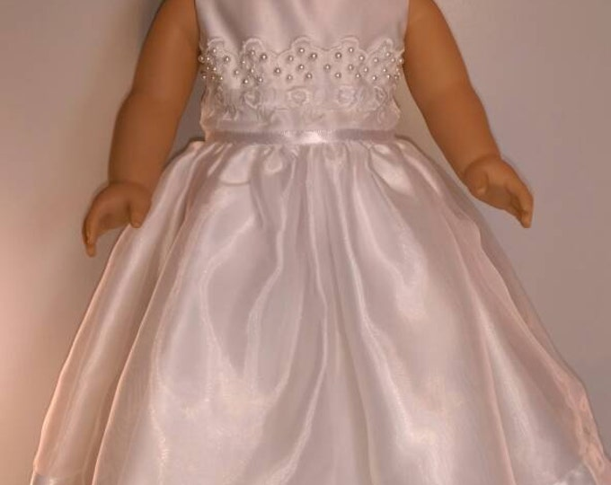 "Long pearl trimmed White Satin wedding, Easter doll dress fits 18""dolls"