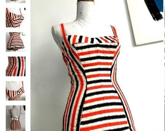 Vintage stunning 1950s swimsuit bathing suit striped