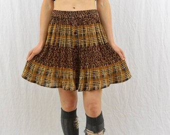 Vintage Mixed Print Skirt, Size XS-Small, Grunge, 90's Clothing, Hippie, Hipster, Tumblr Clothing, High Waisted Skirt