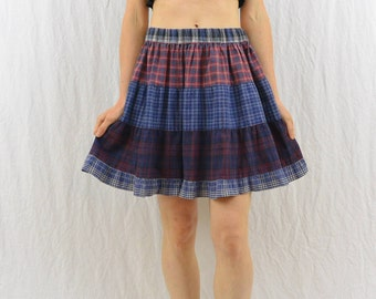 Vintage Mixed Plaid Mini Skirt, Size Small-Medium, High Waisted, Grunge, 90's Clothing, Punk, Riot Girl, Tumblr Clothing, Shabby Chic