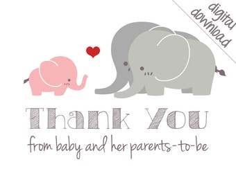 Printable Thank You Cards - Pink Elephant Baby Shower Thank-Yous - Digital Download