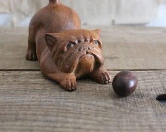 Vintage Carved Wood Bull Dog Figurine