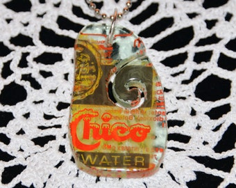 Steph Glass Topo Chico Recycled Water Bottle Pendant, Fused Glass Necklace, Steph Glass Art Original