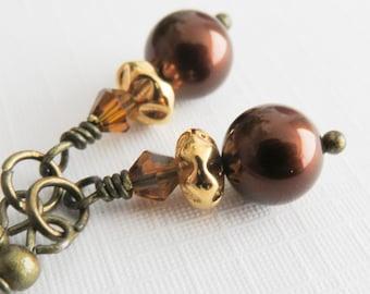 Brown bridesmaid earrings, small pearl earrings, coffee brown dangle earrings, rustic wedding jewelry, bronze earrings