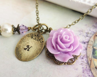 Personalized purple bridesmaid necklaces, purple flower jewelry, flower girl rose necklace, bronze initial necklace, rustic wedding jewelry