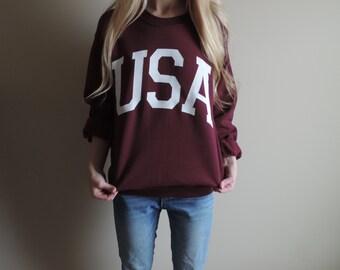 New USA Big Letter Retro Maroon & White Crewneck Sweatshirt Pullover // Size S-2XL