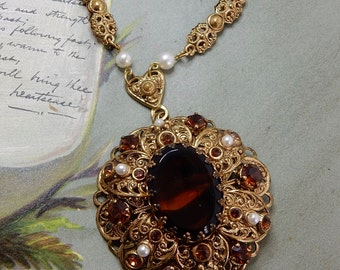 West Germany Gold Filigree and Amber Pendant Necklace   NEF7