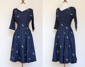 vintage 1940s navy blue silk butterfly print dress / 40s R&K Originals midnight blue silk dress / XS - S