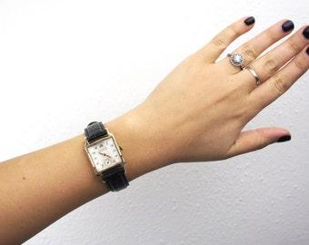Vintage Gruen Veri-Thin Precision Men's Watch, 10K Gold Filled Bezel, Steel Back, Square Dial, Manual Winding Movement 1950s Art Deco 510025