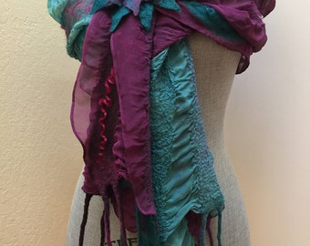 Fringed Scarf - Silk Chiffon and Merino Scarf - Colorful Purple Aqua Spring Summer Scarf - Fashion Scarf Wrap - Gift for Her - Mother's Day