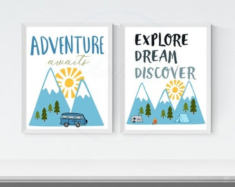 Printable Boy Nursery Camping Art, Travel Wall Art, Adventure Awaits, Explore Dream Discover, Baby Room Decor, Set of 2