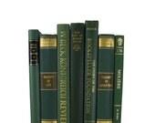 Green Book Set, Vintage Decorative Books,  Decorative Books, Christmas Decor, Vintage Books, Home Decor, Wedding Decor,  Holiday, Photo Prop