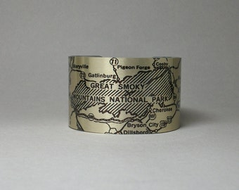 Great Smoky Mountains National Park Map Pigeon Forge North Carolina Tennessee Cuff Bracelet