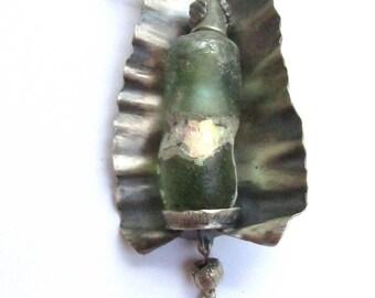 Ancient Roman Glass Vessel Pendant Necklace Argentium Silver No.3